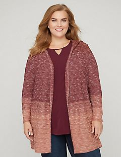 Ombre Knit Hooded Cardigan