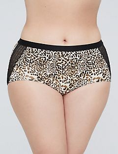 Animal Print Cotton Boyshort with Lace