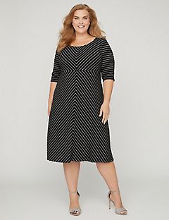 Mitered Fit & Flare Midi Dress with Pockets