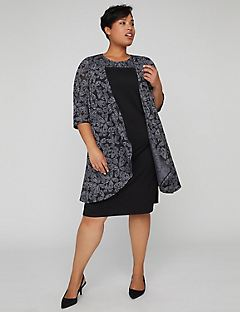 Burnout Jacquard Jacket Dress