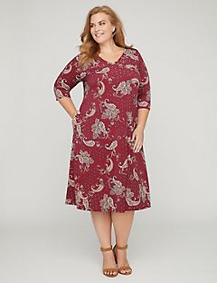 Paisley A-Line Midi Dress with Pockets
