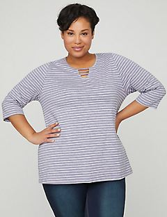 Striped Cutout Suprema Tee