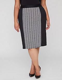 Black Label Jacquard Pencil Skirt
