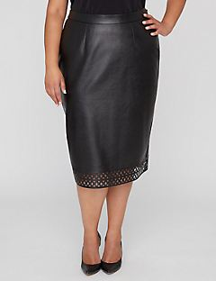Black Label Cutwork Vegan Leather Skirt