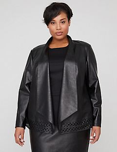 Black Label Cutwork Vegan Leather Jacket