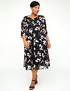 Floral Flyaway Fit & Flare Dress