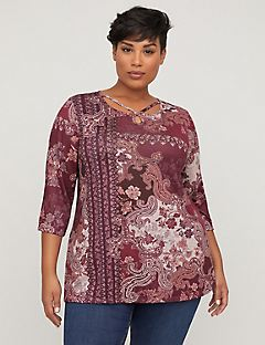Embellished Paisley Hacci Print Top
