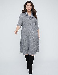Cozy Fit & Flare Dress With Detachable Scarf