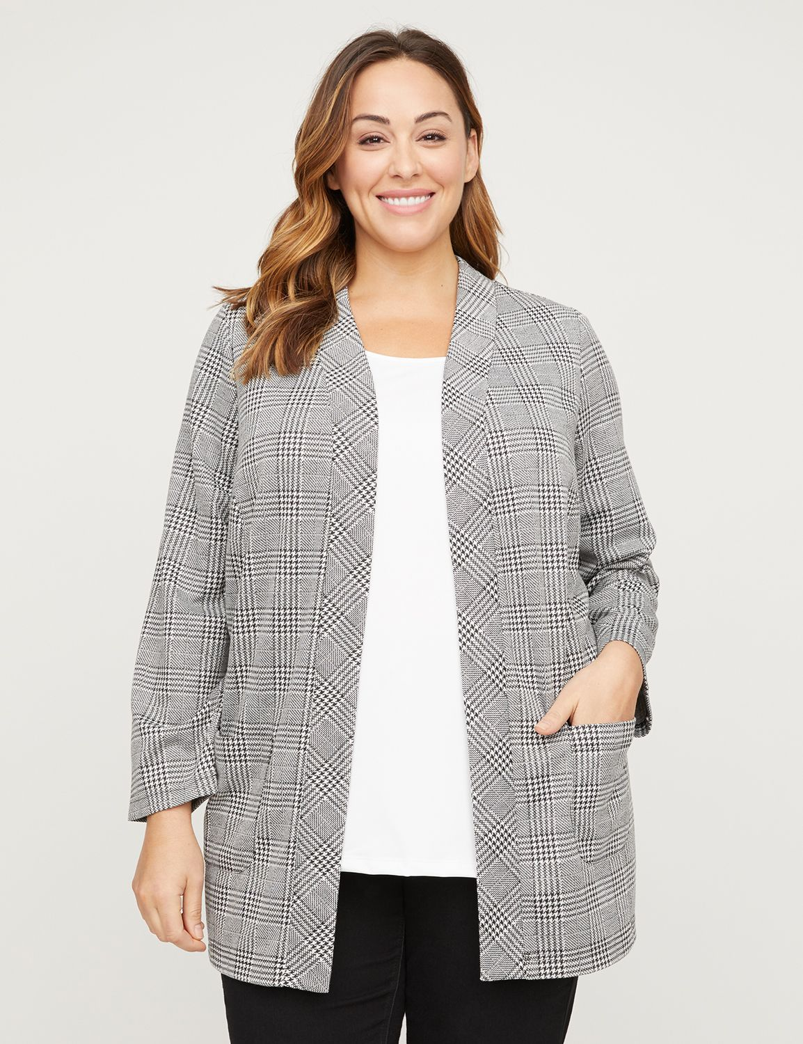 "Polish off any look in an open jacket in a mix of houndstooth plaids. Soft, draped ponte knit fabric. Two front patch pockets. Long sleeves. Item Number #315632, 100% Polyester, Machine Wash, Imported Plus Size Top Plus Size Jacket, Length: 33"" , Plus Sizes 0X-5X, Catherines Plus Sizes"
