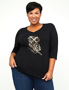 Sequin Owl Top