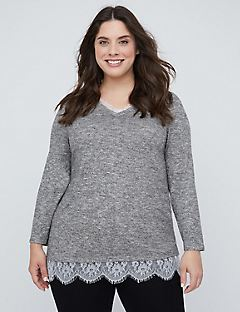 Heather & Lace Duet Top