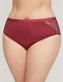Satin Hi-Cut Brief With Lace