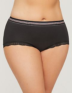 Cotton Lace Boyshort with Striped Band
