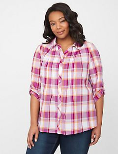 Plaid Buttonfront Shirt