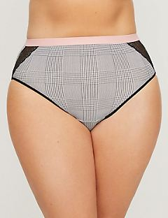 Houndstooth Cotton Hi Cut with Lace