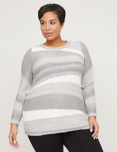 Ombre Patchwork Pullover Sweater