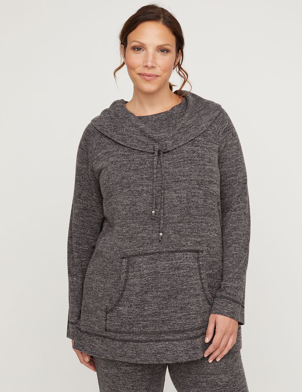 "The velvety touch makes this sweatshirt your new favorite layer! The super-soft, lightweight fabric is designed for comfort on-the-go. Featuring a drawstring detail along the cowl neck for added style. Long sleeves. Front kangaroo pocket. Item Number #315746, 84% Polyester/13% Rayon/3% Spandex, Machine Wash, Imported Plus Size Activewear, Length: 31"" , Plus Sizes 0X-5X, Petite Plus Sizes 0XWP-3XWP, Catherines Plus Sizes"