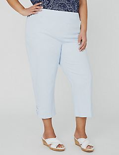 Essential Flat Front Capri with Crisscross Detail