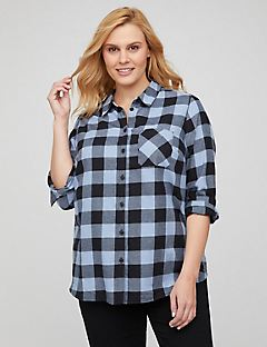 Enriched Plaid Buttonfront Top