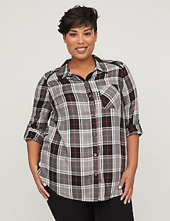 Plush Touch Plaid Buttonfront Shirt