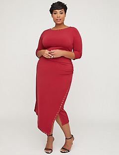 Curvy Collection Studded Wrap Dress