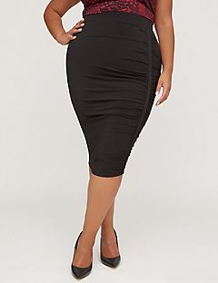 Curvy Collection Ruched Pencil Skirt