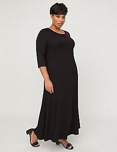 AnyWear Velvety Trim Maxi Dress