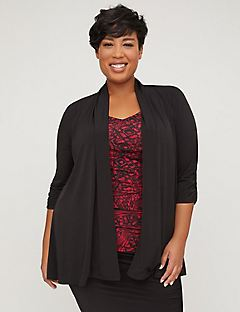 Curvy Collection Ruched Cardigan