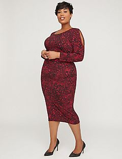 Curvy Collection Ruched Split-Sleeve Dress