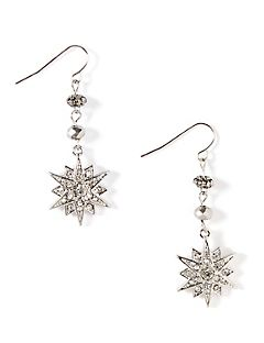 Glittery Snowflake Drop Earrings