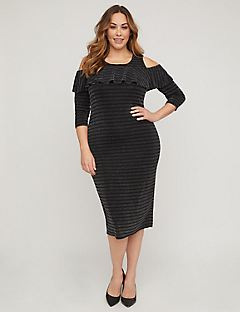 Midnight Sparkle Cold-Should Sheath Dress