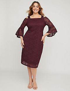 Bordeaux Lace Cold-Shoulder Sheath Dress