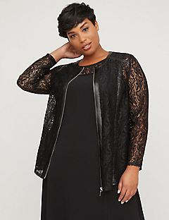 Black Label Vegan Leather & Lace Jacket