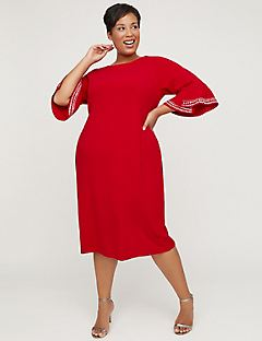 The Perfect Red Shift Dress With Ruffle Sleeves