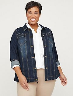 06be805824 Plus Size Jackets   Coats. Embellished Jean Jacket