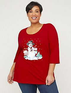 Holiday Snowman Top With 3/4 Sleeves