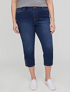 Button-Hem Jean Capri with Comfort Waist