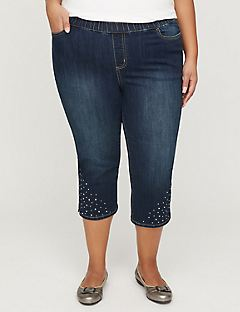 Jean Capri with Embellished Hem