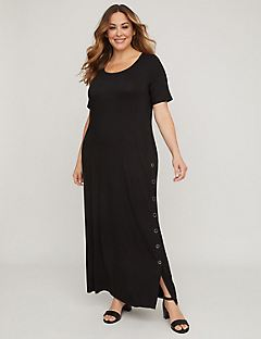 Easy Maxi Dress with Button Slit