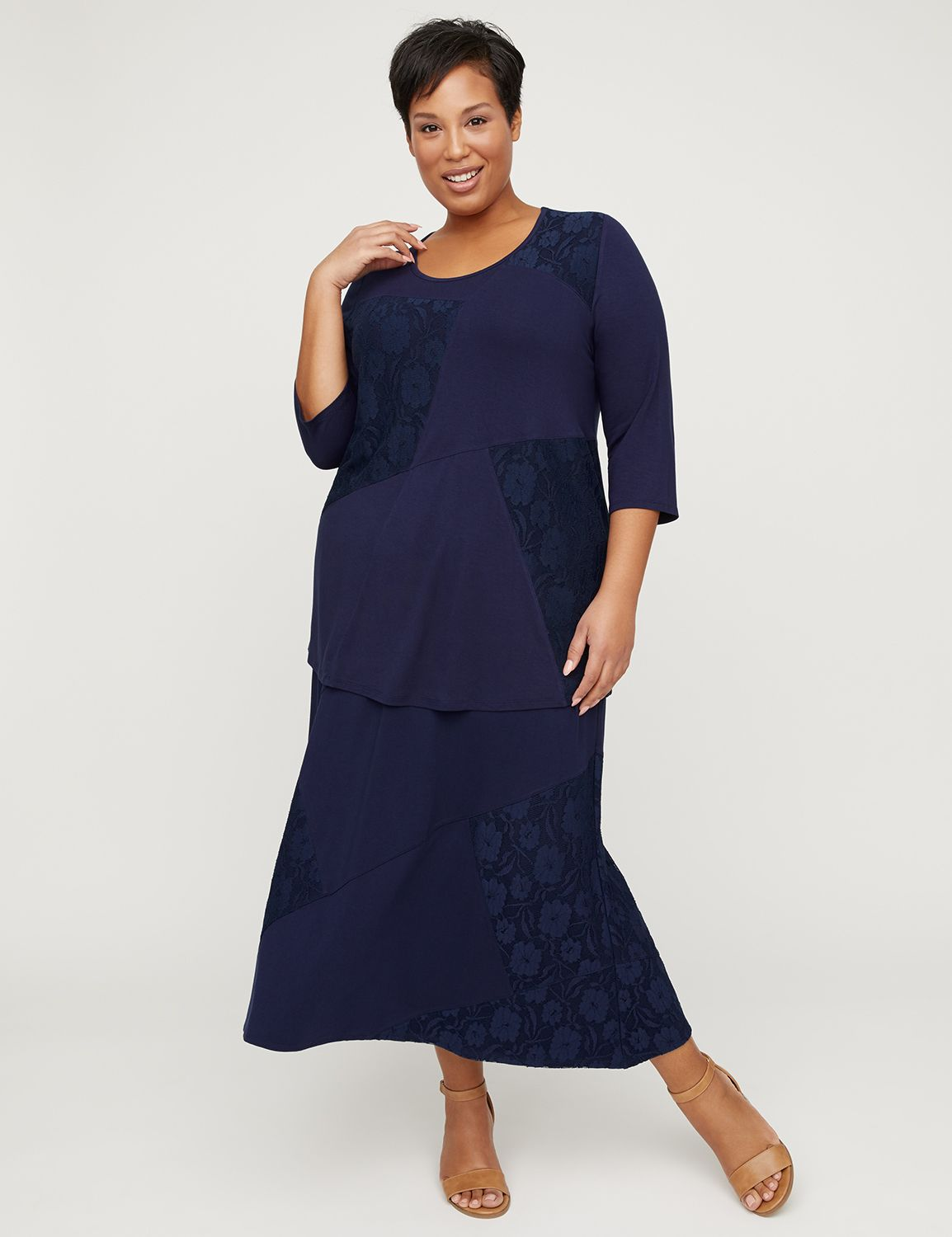 AnyWear Navy Patchwork Lace Tunic