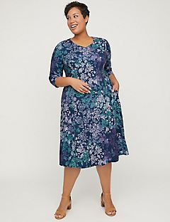 Evening Dusk A-Line Dress with Pockets