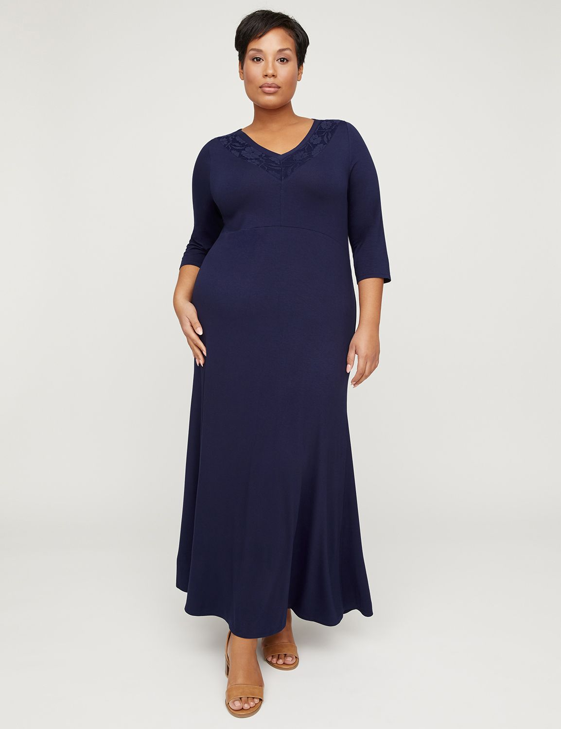 AnyWear Navy Maxi Dress with Lace