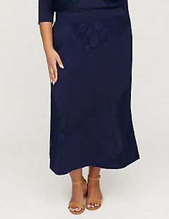 AnyWear Navy Lace Patchwork Maxi Skirt