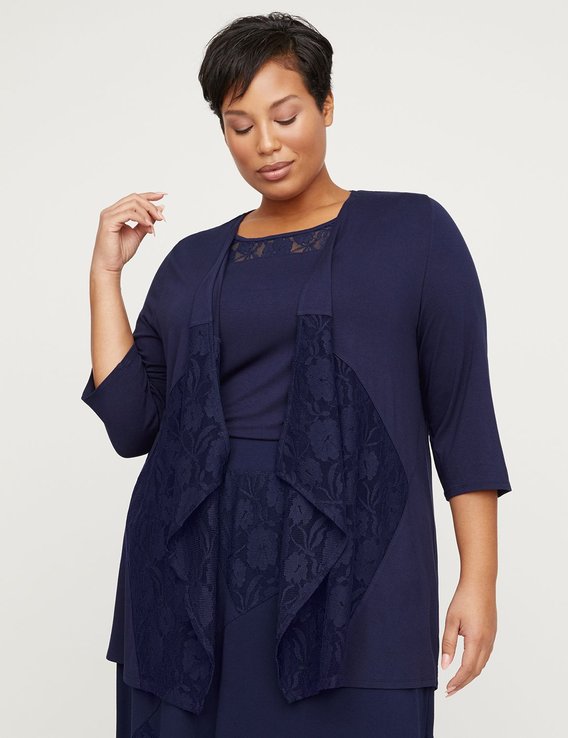 AnyWear Navy Patchwork Lace Cascade
