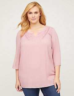 Blush Lace Peasant Top