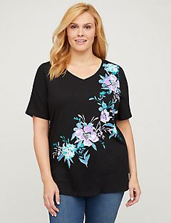 Floral Blend Top - Short Sleeves