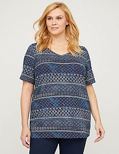 Medallion Stripe Top - Short Sleeves