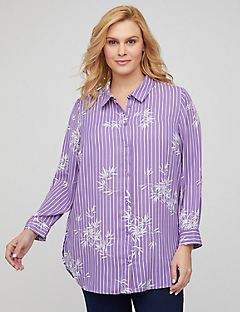 Lavender Buttonfront Tunic Top