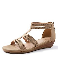 Good Soles Perforated-Strap Wedge Sandal