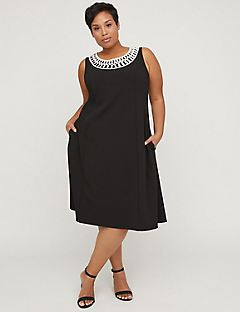 Black Label Soutache Fit & Flare Dress with Pockets